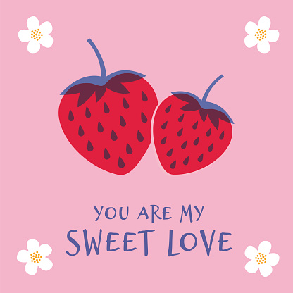Valentine's Day greeting card with Strawberry. Spring holidays. Vector Illustration.