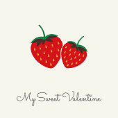 Valentine's Day greeting card with Strawberry. Spring holidays. Vector Illustration. Stock illustration
