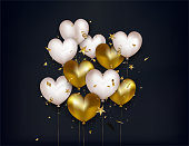 Valentines Day greeting card with white and gold balloons, confetti, 3d stars on black background.Vector.