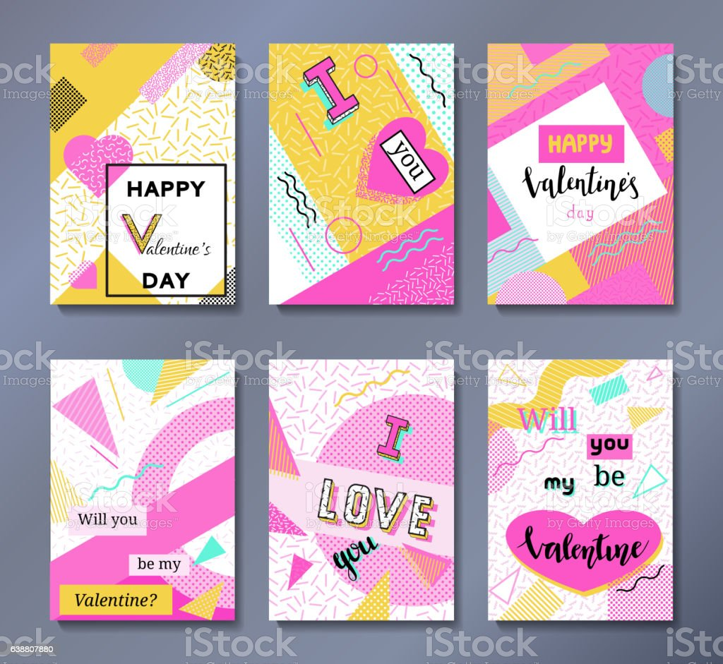 Valentines Day Greeting Cards Set In Trendy 80s90s Stock Vector Art