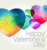 Valentine's day greeting in watercolour texture style