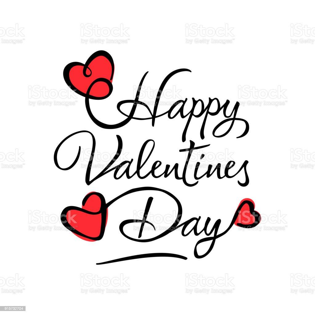 Ilustración de Día De San Valentín Tarjeta Manuscrita Y Corazones ...