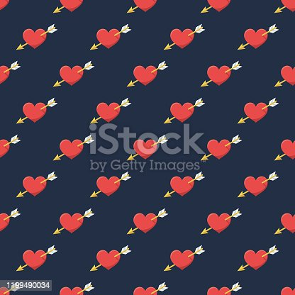 istock Valentine's Day Heart and Arrow Pattern 1199490034