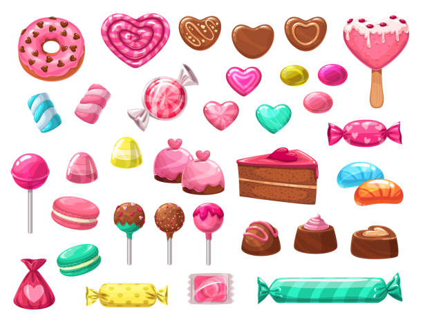 Valentines Day heart candies, sweets and cakes Valentines Day sweets vector icons of romantic love holiday gifts. Chocolate cake, heart shaped candies, lollipops and jellies, marshmallow, cupcakes and macarons, donuts, ice cream and caramel candy stock illustrations