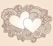 Valentine's Day Heart Henna Doodles Vector