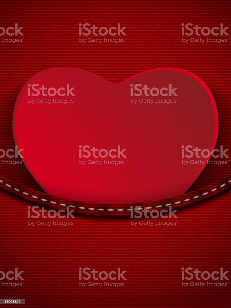 Valentines Day Heart in Jeans Pocket royalty-free stock vector art