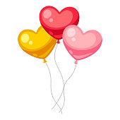 Valentines Day heart shaped balloons. Illustrations in cartoon style.