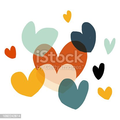 Vector illustration of a collection of hand drawn heart shapes
