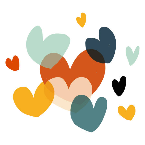 illustrazioni stock, clip art, cartoni animati e icone di tendenza di valentine's day heart shapes - accudire
