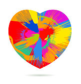 Multi coloured spin painting Valentine's day greeting