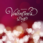 Celebrate the Valentine's Day with hearts pattern on the red background