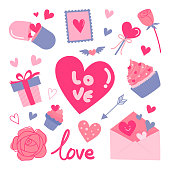 Valentine's day hearts doodle elements set vector illustration. Love graphic set pink and blue theme