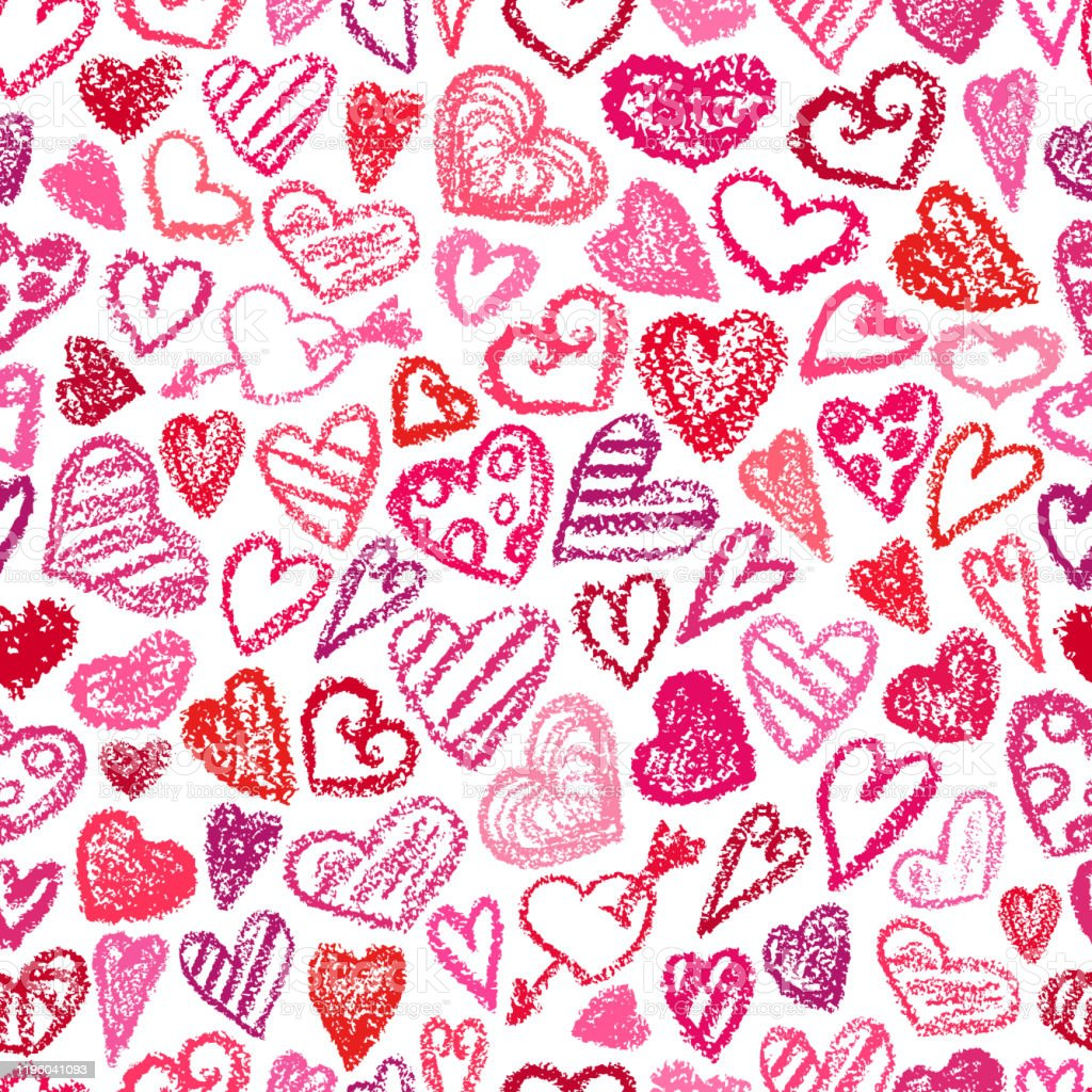 Valentines Day Hearts Pattern Crayon Style Drawling Hearts On White Background Children Drawling Love Symbol Doodle Art Heart Romantic Texture Seamless Valentines Day Print Stock Illustration Download Image Now Istock