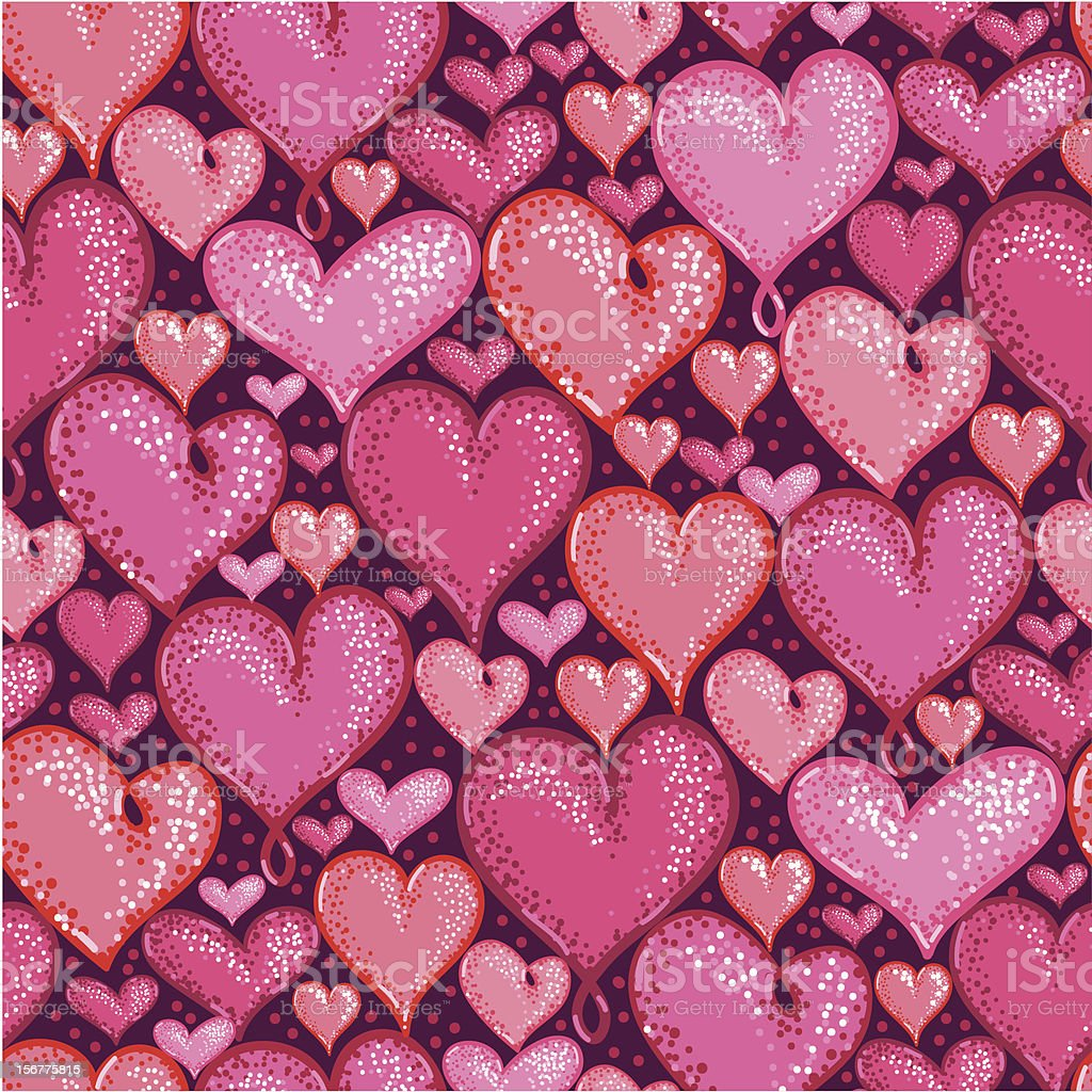 Valentine's Day Hearts Seamless Pattern Background royalty-free stock vector art