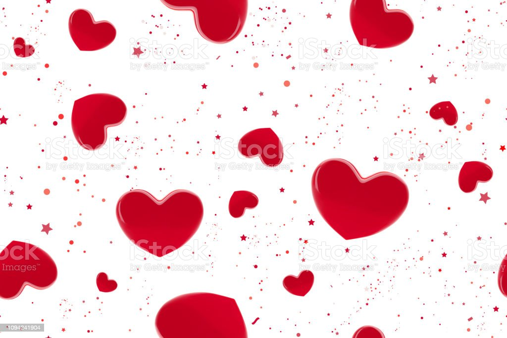 Valentines Day Hearts Seamless Pattern Background With Red3d
