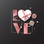 Valentine's day holiday background. Glitter word love with foil effect, 3d heart, sweets. Decorative elements for holiday design. Vector illustration.