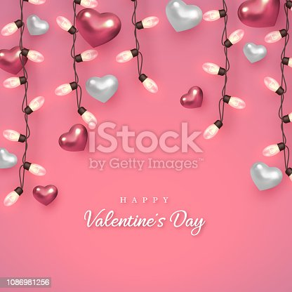 Valentines day holiday design. 3d metallic glossy hearts with light bulbs and greeting text on soft pink background. Vector illustration.