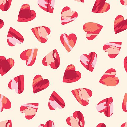 Valentine's Day Holiday Hand-Drawn Trendy Brushstroke Hearts Vector Seamless Pattern