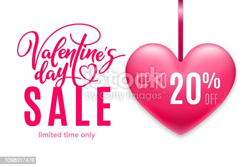 Valentine's day holiday sale 20 percent off with pink heart and lettering on white background. Limited time only. Template for a banner, poster, shopping, discount, invitation. Vector illustration for your design