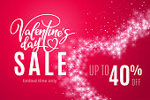 Valentine's day holiday sale 40 percent off with heart of shiny glitter on red background. Limited time only. Template for a banner, poster, shopping, discount, invitation. Vector illustration for your design