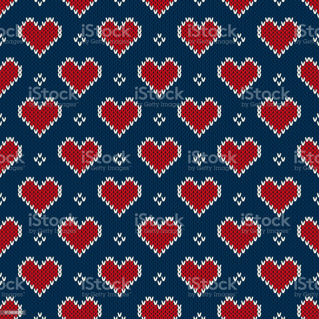 Valentines Day Holiday Seamless Knit Pattern With Hearts Scheme For