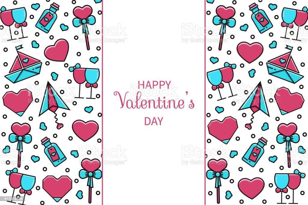 Valentinstag Horizontale Banner Wallpaper Kartekonzept Mit Flache ...