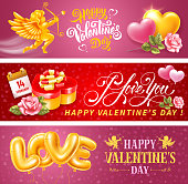 Valentines Day vector designs set. Red, pink background with Cupid, two hearts in love. Golden balloons make up the word Love. Gift box in heart shape, roses and lettering create a romantic mood.