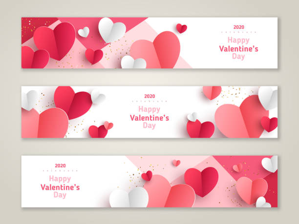 Valentines day horizontal banners Valentine's day concept, horizontal banners. Vector illustration. 3d red and pink paper hearts frame. Cute love sale banner or greeting card valentine card stock illustrations