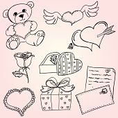 Valentine's day icon in sksthc style, black and white
