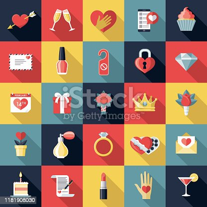 A set of Valentine's Day icons. File is built in the CMYK color space for optimal printing. Color swatches are global so it's easy to edit and change the colors.