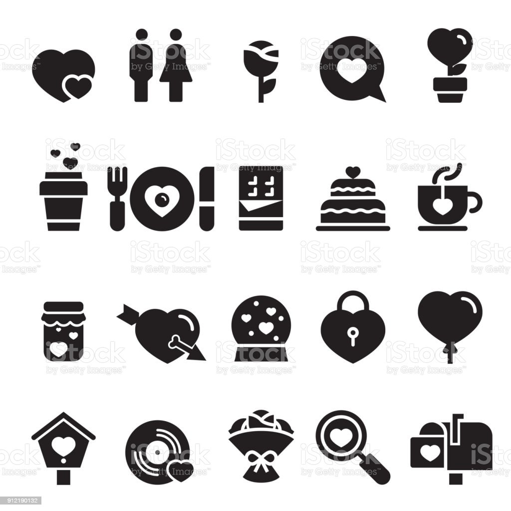 Valentines Day Icons [Black Edition] vector art illustration