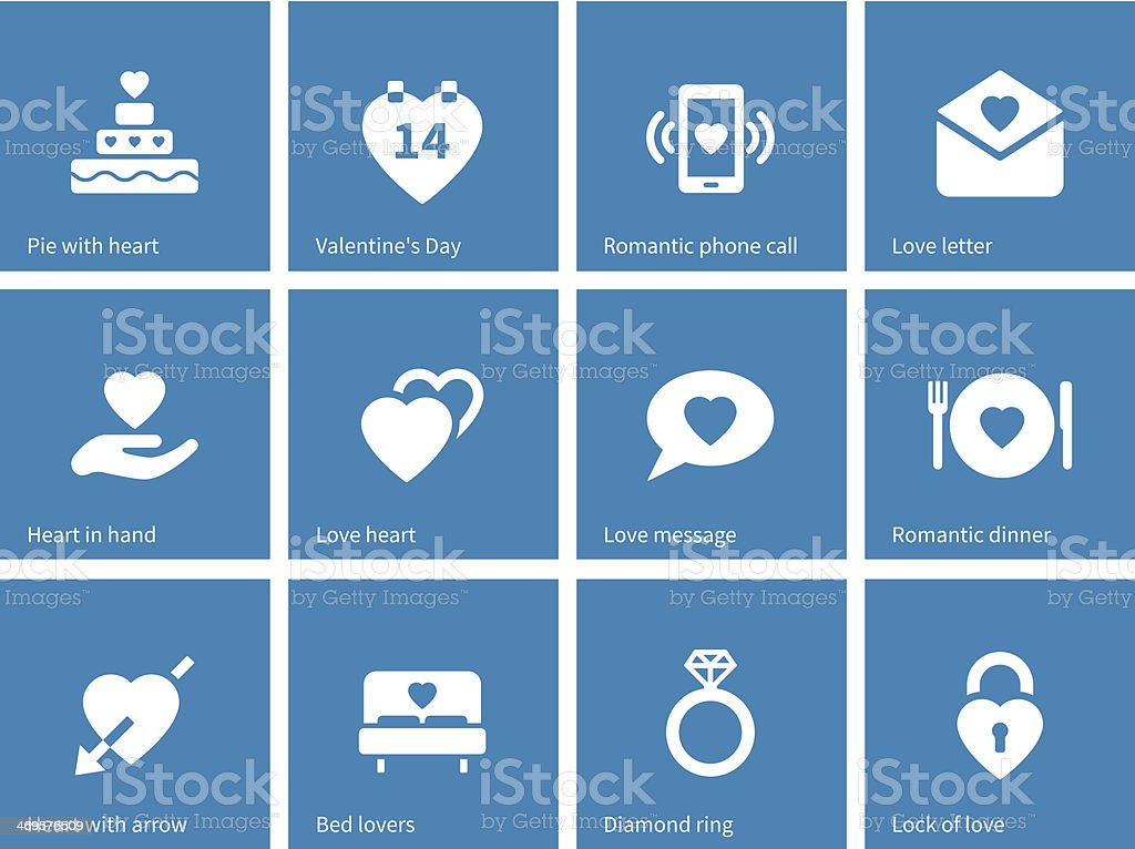 Valentine's Day icons on blue background. vector art illustration