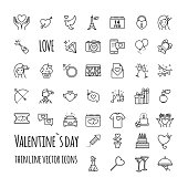 Valentines day icons. Romantic design elements. Vector outline style illustration