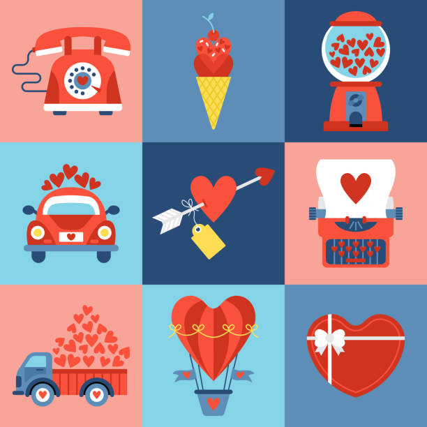 Valentines day icons set Valentines day icons set for graphic and web design car love stock illustrations