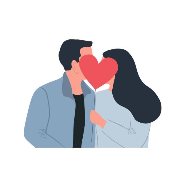 Valentine's Day illustration. Couple in love is kissing. Romantic kiss vector art illustration