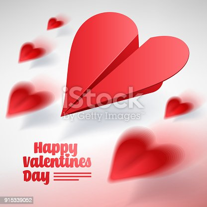 istock Valentines day illustration. Group of red paper planes. Love mes 915339052