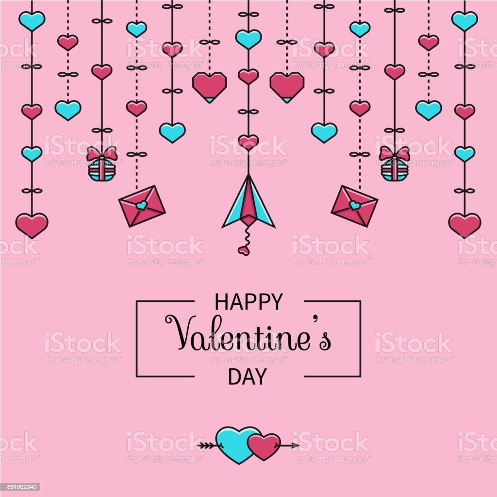 Valentines Day Illustration In Flat Color Line Style With Heart ...