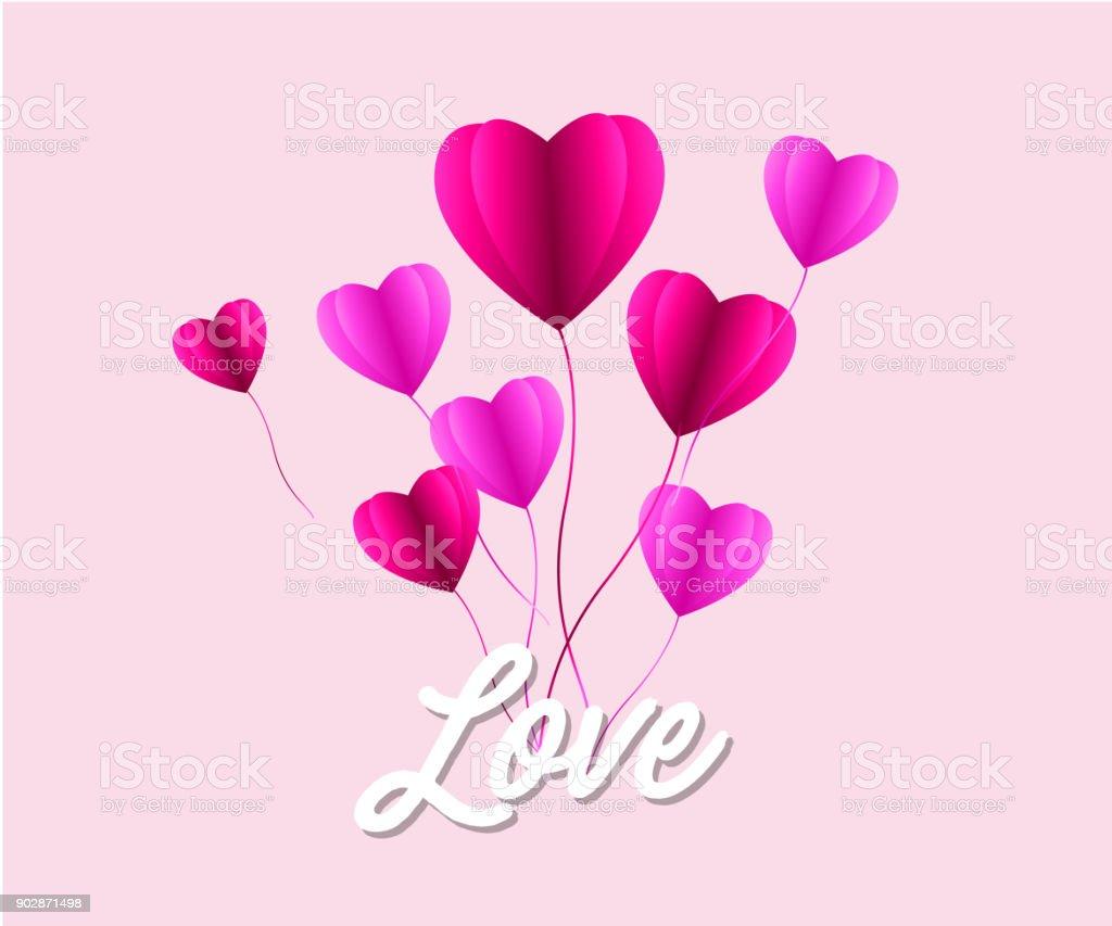 Dia De San Valentin Ilustracion De Amor Globo De Aire Caliente En