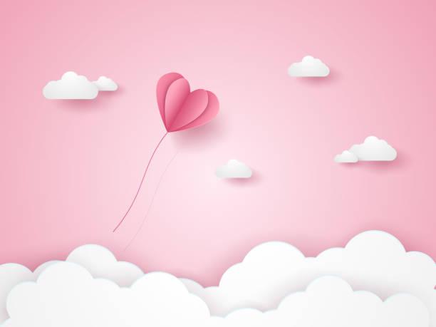 bildbanksillustrationer, clip art samt tecknat material och ikoner med alla hjärtans dag, illustration av kärlek, rosa hjärta ballong flyga i den rosa himlen, papper konststil - rosa bakgrund