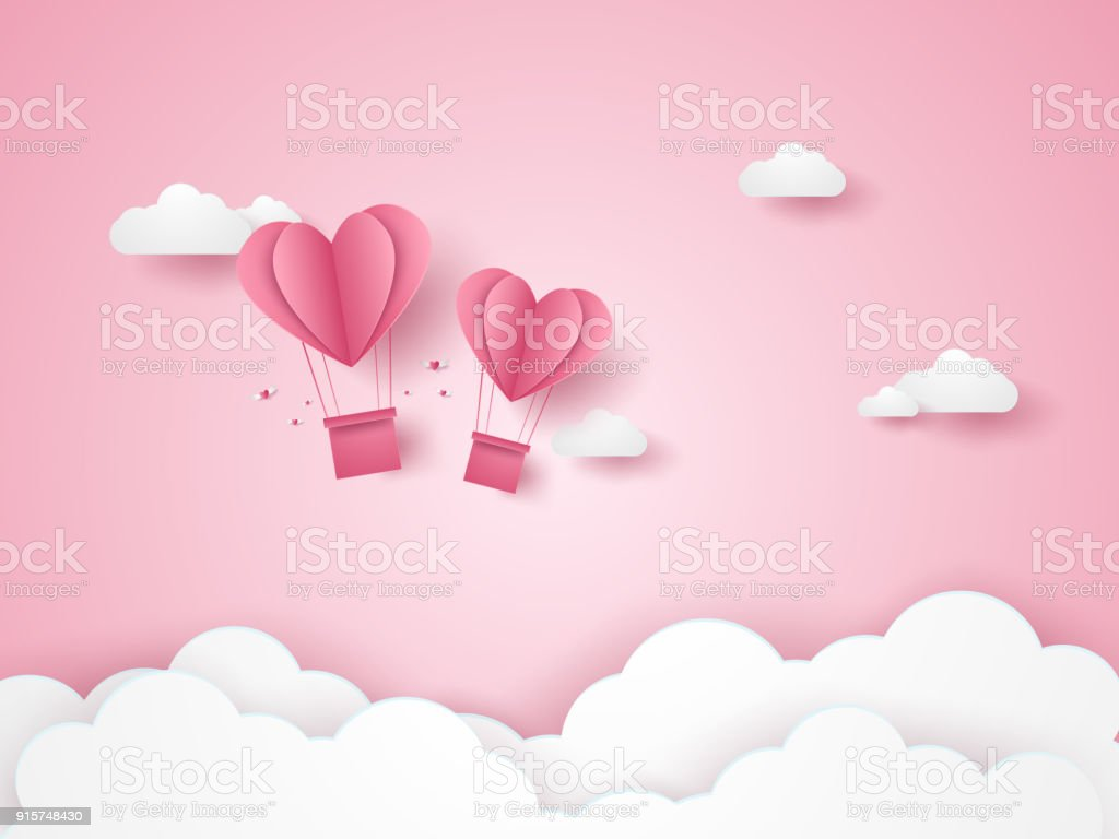 Valentines day, Illustration of love, pink heart hot air balloons flying in the pink sky, paper art style