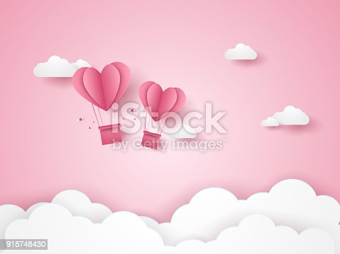 istock Valentines day, Illustration of love, pink heart hot air balloons flying in the pink sky, paper art style 915748430