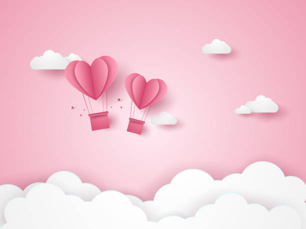 valentines day, illustration of love, pink heart hot air balloons flying in the pink sky, paper art style - valentine card stock illustrations