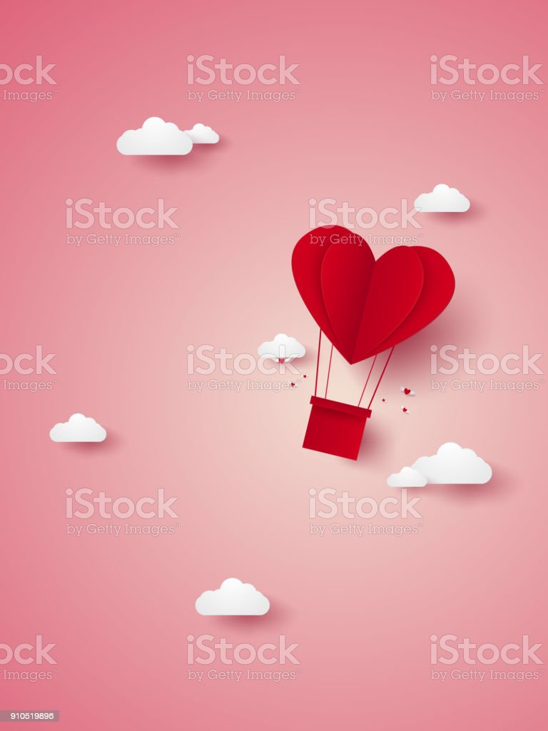 Valentines day , Illustration of love , red heart hot air balloon flying in the sky , paper art style vector art illustration