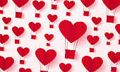 Valentines day, Illustration of love, red heart hot air balloons background , paper art style