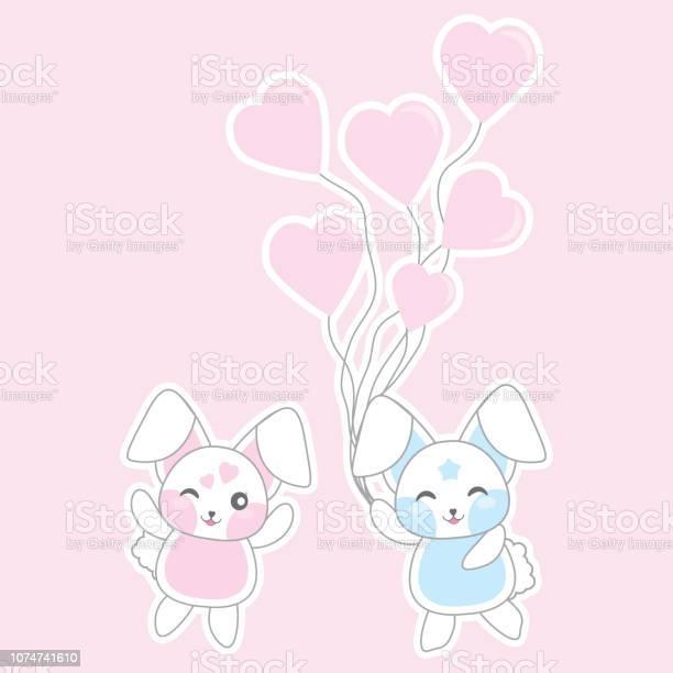 Valentines day illustration with cute rabbits bring love balloons on vector id1074741610?b=1&k=6&m=1074741610&s=612x612&h=rfpuoyubclihq76ub e711np rxom8oll9kbcfg3qom=