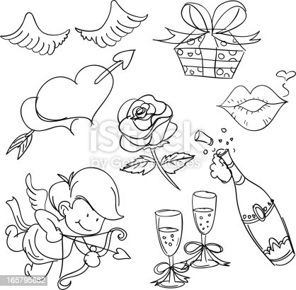 Sketch Drawing of Valentine's day elements.
