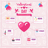 Valentines Day Infographic Set Of Template Elements Icons Over Pink Background, Love Holiday Info Graphic Flat Vector Illustration