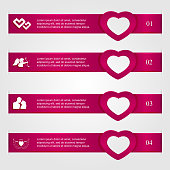 Set of four infographics with hearts, numbered options, modern design, business options banner, illustration.