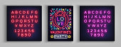 Valentines Day invitation to a party postcard. Neon sign, Design Template, Vivid Anniversary Celebration advertisement, Bright Banner, Neon Style Flyer. Vector illustration. Editing text neon sign.