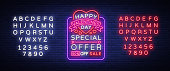 Valentine's Day is a proposal, a neon style banner template. Neon Sign, Poster Design for a Store, Bright Banner, Luminous Neon Advertising, Flyer, Postcard, Brochure. Vector. Editing text neon sign.